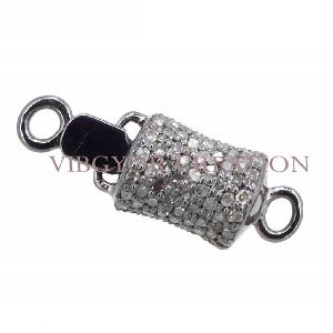 Bead Connector 925 Sterling Silver Pave Diamond Clasp Finding Lock Jewelry