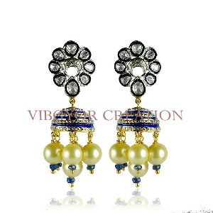 Jhumki Gemstone Pearl Rosecut Diamond Polki 14k Gold 925 Silver Earring Jewelry
