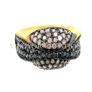 Blue Pave Diamond 925 Silver 14k Gold Engagement Band Ring