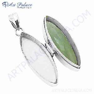 Fancy Green Amethyst Gemstone Silver Jewelry Boxe