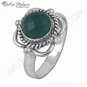 Fashion Accessories Green Onyx Gemstone German Silver Ring