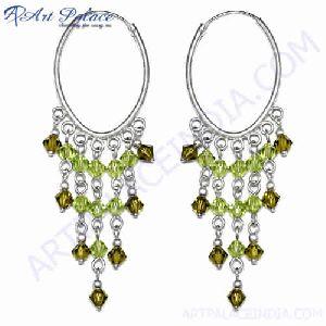 Fashion Beaded Green Glass Silver Earring