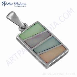 Fashionable Inley Gemstone 925 Silver Pendant