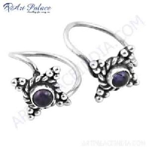 Feminine Unique Designer Amethyst Gemstone 925 Silver Toe Rings