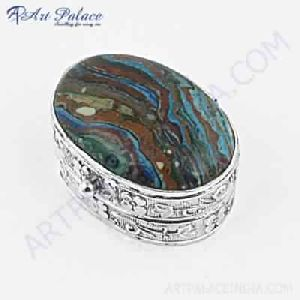 Luxury Jasper Gemstone Silver Box