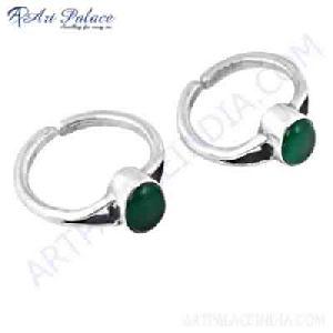 Luxurious Green Onyx Gemstone Silver Toe Rings, 925 Sterling Silver Jewelry