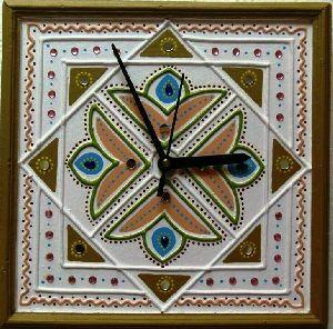 44a0d28dd6ed55 Attractive Designer Mud Mirror Art Work Wall Clock