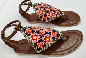 Kutchi Embroidery Machine Work Ladies Sandals