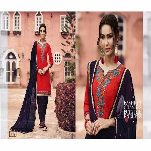 Red Black Patiala Salwar Kameez