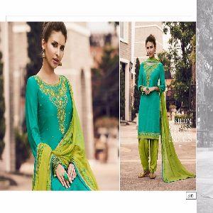 Green Cotton Patiyala Salwar Kameez