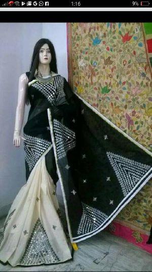 Kathiwar Saree On Bangladeshi Tant With Blouse Piece