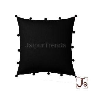 Cotton Black Pom Pom Cushion Cover