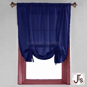 Rode Pocket Cotton Blue Curtain