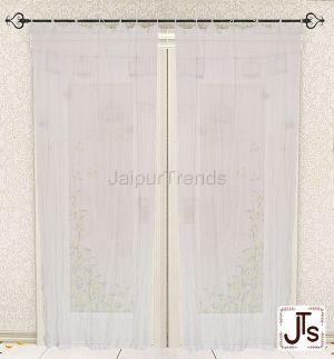 Tie Top Cotton Plain Solid White Curtain