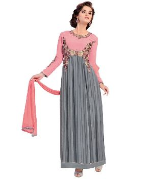 Grey Pink Semi Stitched Salwar Suit