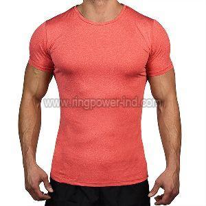 Mens Pink Half Sleeve Gym T-Shirt