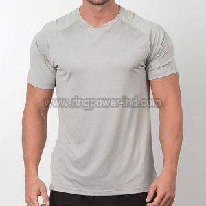 Mens Grey Half Sleeve Gym T-Shirt