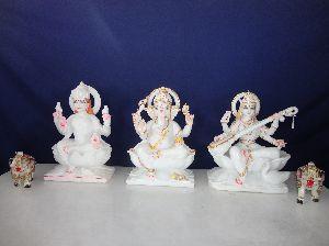 Marble Ganesh Laxmi Saraswati God Statue
