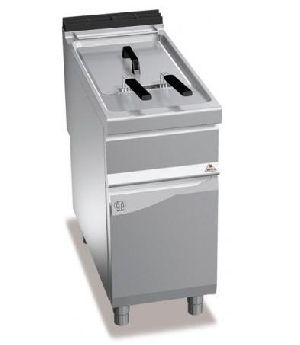 Gas fryer on cabinet