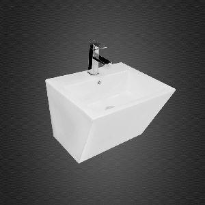Wall hung wash basin half pedestal