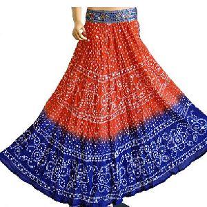 Mirror Work Bandhani Skirt