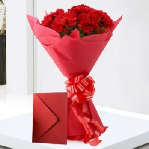 Bunch of 12 Red Carnation With Greeting Card