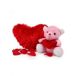 Heart Cushion With Little Teddy Bear