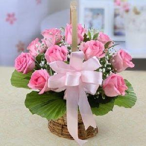 Pink Roses In Wicker Basket