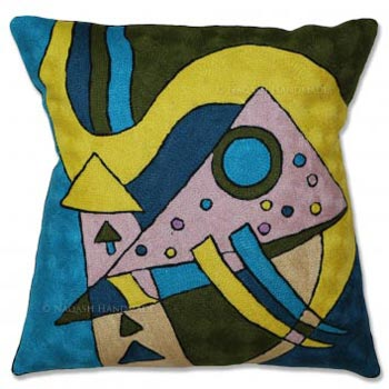 Artis Cotton Crewel Wool Embroidered Cushion Cover