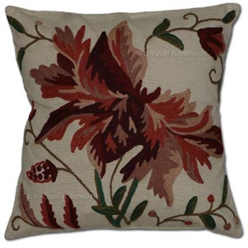 Berry Cotton Crewel Hand Embroidered Cushion Cover
