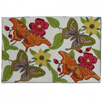 Butterflies Wool Embroidered Traditional Handmade Rug