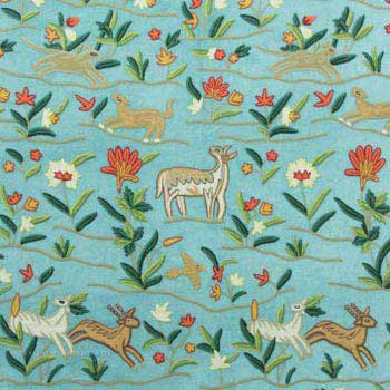 Deer Crewel Embroidery Work Handmade Cotton Velvet Fabric