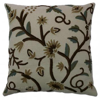 Grapes Cotton Crewel Wool Embroidered Cushion Cover
