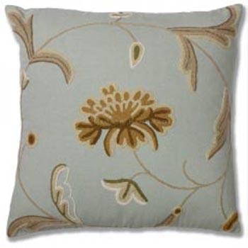 Hua Cotton Crewel Wool Embroidered Cushion Cover