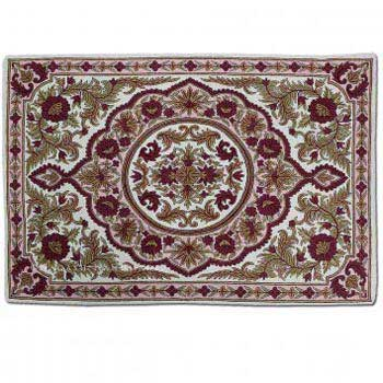 Kanzalwan Wool Embroidered Traditional Handmade Rug