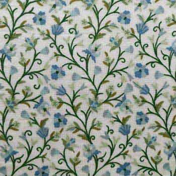 Pampore Crewel work Hand Embroidered Organza Silk Fabric