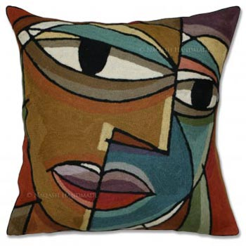 Picasso Cotton Crewel Wool Embroidered Cushion Cover