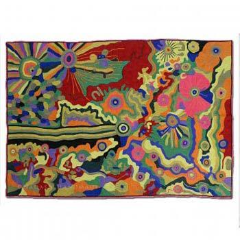 Scarlet Chain Stitch Handmade Modern Art Rug