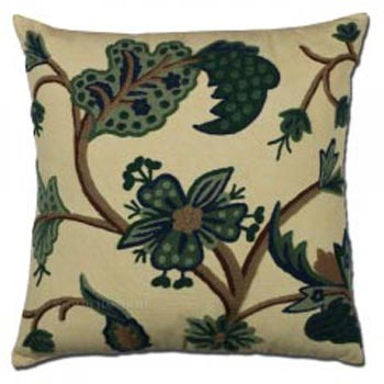Tambakoo Crewel Cushion Cover Wool Embroidered Cotton Pillow