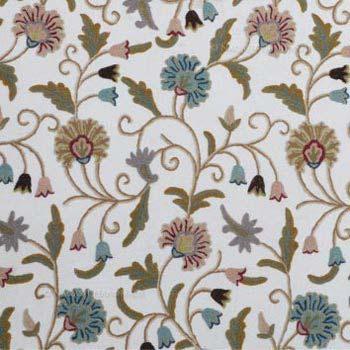Yogi Multi Crewel Work Hand Embroidery Handloom Cotton Fabric