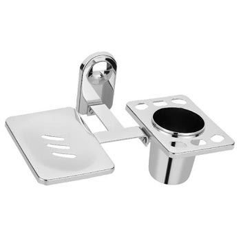 Stainless Steel Soap Dish With Toothbrush Holder