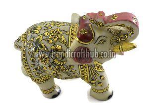 EIIM0301 Handmade Marble Pure Gold Work Elephant Statue