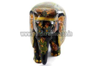 Handmade Wooden Miniature Painted Elephant Statue