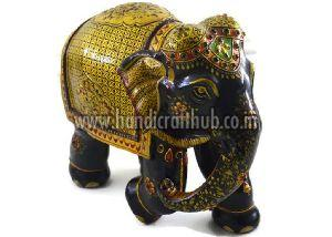 EIIW0209 Handmade Wooden Pure Gold Work Elephant Statue