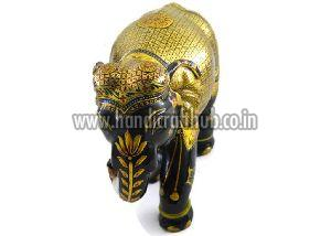 EIIW0210 Handmade Wooden Silver & Pure Gold Work Elephant Statue