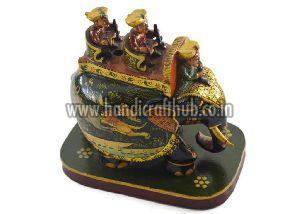 EIIW0215 Handmade Wooden Miniature Painted Elephant Statue