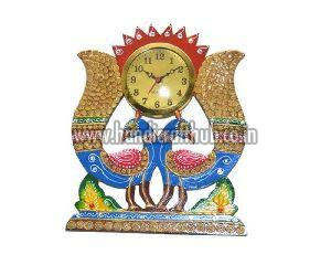Handmade Wooden Peacock Shaped Wall Clock