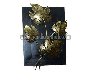 Iron And Wooden Gold Finish Leaves Wall Hangings