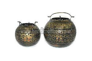 Set Of Two Iron Lota Tea Light Holders