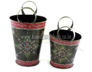 Set Of Two Iron Plated Buckets
